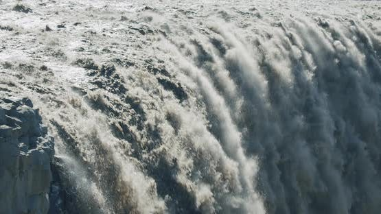 Close Up of Powerful Dettifoss Waterfall Iceland Europe