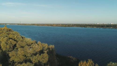 Fly Over Dnipro River and Autumn Island