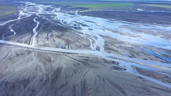 Flying Over a Huge Glacial River System in Iceland