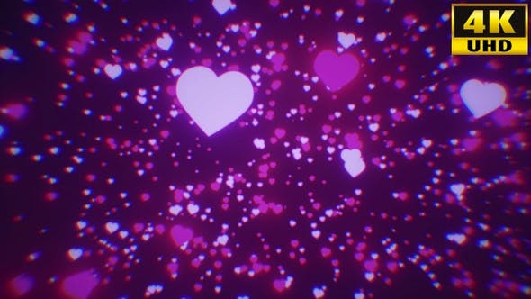 Thumbnail for Hearts Bokeh Particles Background Vj Loops V1