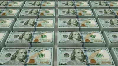 Bundles Of 100 Dollars On Conveyor
