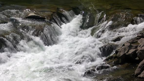 Fast Mountain Stream on a Summer Day