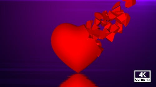 Broken Red Heart & Flying Pieces Slowly