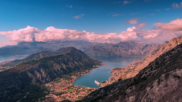 Shot From the Top of the Mountain Over Kotor Montenegro in Spring