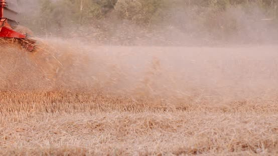 Thumbnail for Close-up of Combine Harvester on Field at Farm