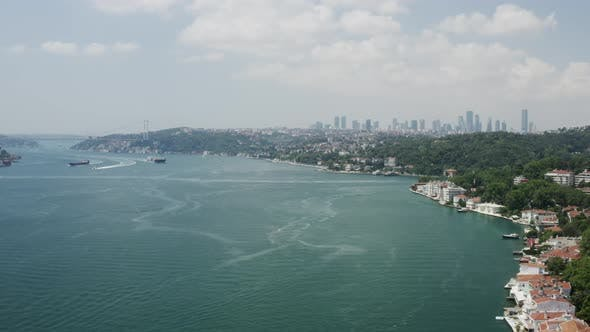 Thumbnail for Istanbul Bosphorus And Waterside Houses Aerial View