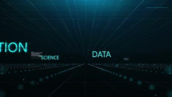Thumbnail for Technologischer Hintergrund mit Flug durch den virtuellen Raum