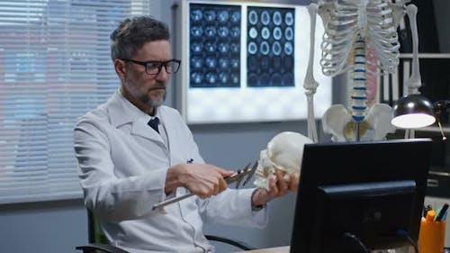 Male Doctor Analyzing Human Skeleton Model