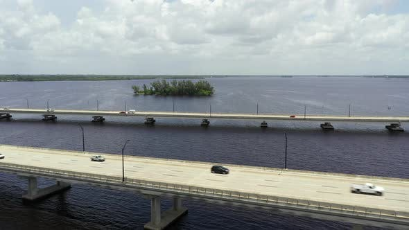 Thumbnail for Aerial Footage Edison Bridge Fort Myers Florida Usa