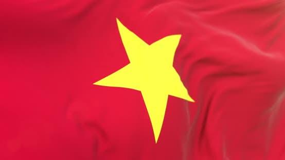 Realistic Vietnam Flag Close-up 4K Loop