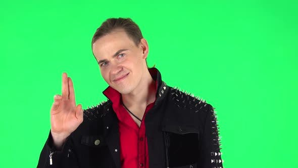 Thumbnail for Guy Coquettishly Smiling, Waving Hand and Showing Gesture Come Here. Green Screen
