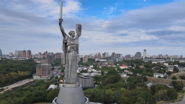 Motherland Monument in Kyiv, Ukraine By Day. Aerial View