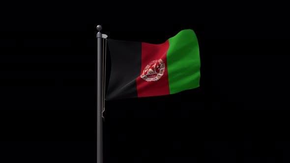 Afghanistan Flag On Flagpole With Alpha Channel 4K