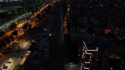 Aerial Drone Overhead Shot Night
