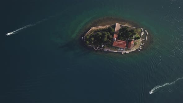 Thumbnail for Aerial Footage of St. George and Monastery on the Islands Near Perast Town in Kotor Bay