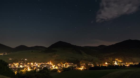 Thumbnail for Night Traffic in Countryside Time Lapse. Romantic Evening with Moving Stars