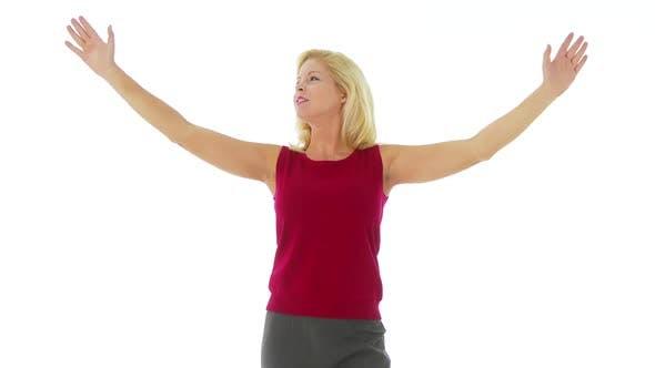 Thumbnail for Woman miming an invisible wall