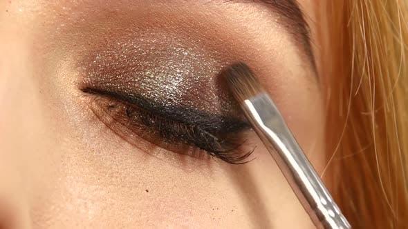 Thumbnail for Beauty Fashion. Eyelashes. Cosmetic Eyeshadow. Close Up