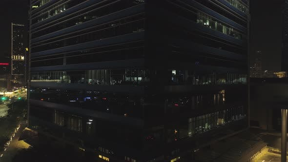 Thumbnail for Night Facade Of Building With A Lot Of Lighted Windows