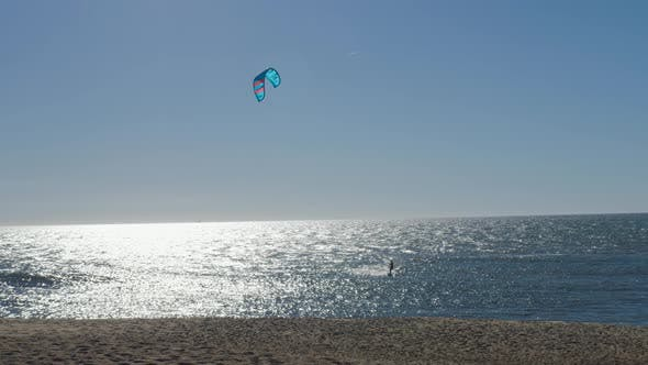 Kitesurfing Kiteboarding Action Man Among Waves Quickly Goes