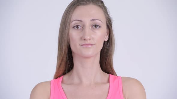 Thumbnail for Face of Blonde Woman Against White Background