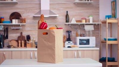 Supermarket Paperbag in Kitchen
