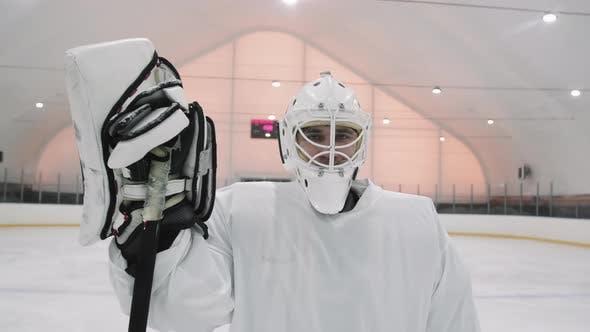 Portrait Of Goaltender On Ice Arena