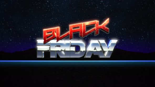 Thumbnail for Animation intro text Black Friday and thunderbolt, retro background