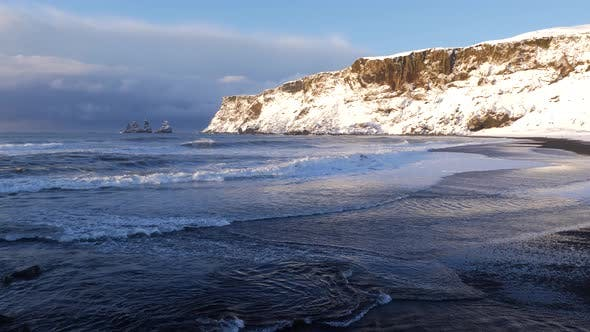 Thumbnail for Iceland Vik Black Sand Beach View of Ocean and Basalt Rock Formations