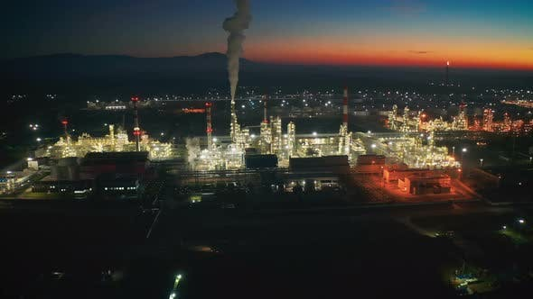 Cover Image for Aerial view Oil refinery industrial plant at night of Kazakhstan