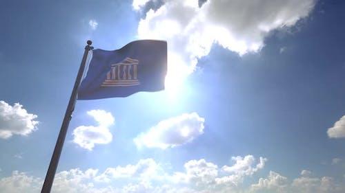 UNESCO Flag on a Flagpole V4