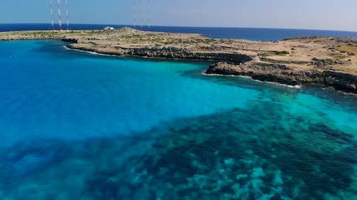 Aerial View Blue Lagoon Near Cape Cavo Greco on Sunny Day