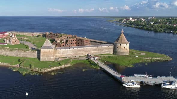 Thumbnail for Aerial Around View on Fortress Oreshek in Russia
