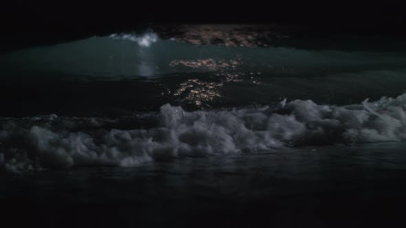 Thumbnail for Scene of the Sea Washing Shore at Night