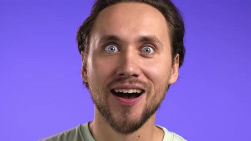 Man Depicts Amazement Shows Delight Face Effect