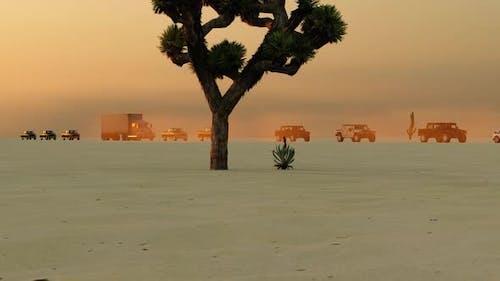 Arabian Deserts and All-terrain Vehicle Convoy