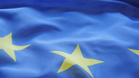 Thumbnail for EU flag stars panning 1080p HD  footage - Panning over Europe Union flag FullHD 1920X1080 video