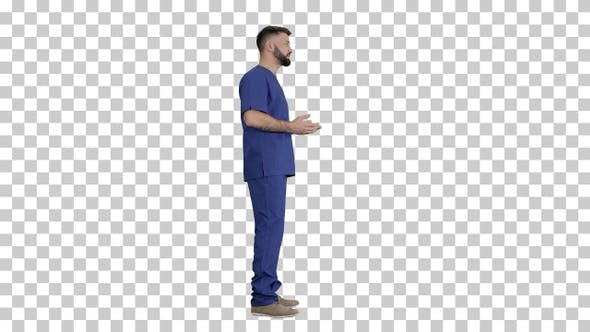 Male medical practitioner in a uniform, Alpha Channel