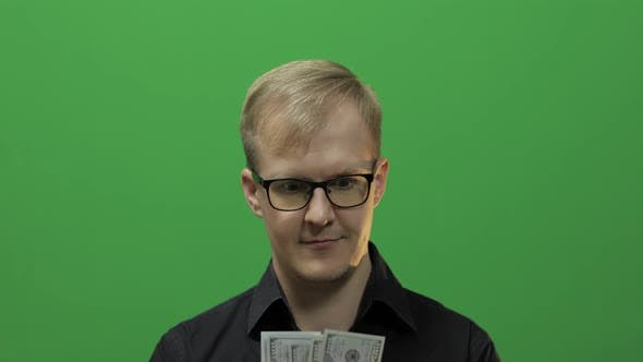 Thumbnail for Man Received Paper Money for a Major Deal, Counting Money Chroma Key