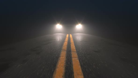 Thumbnail for Car Headlights Pursuiting Camera on a Night Road