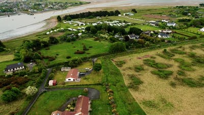 Aerial view over Irish village