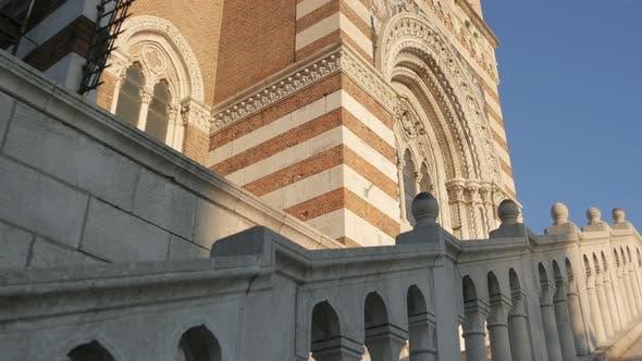 The side of a church facade