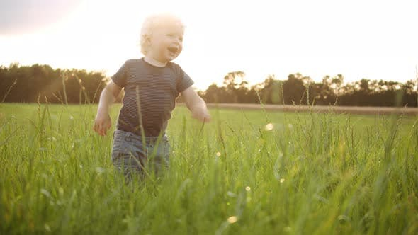 Thumbnail for Baby Boy with Curly Hair Sitting in the Middle of the Field