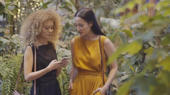 Thumbnail for Zwei weibliche Freunde mit Smartphone und Chatten im Indoor-Garten