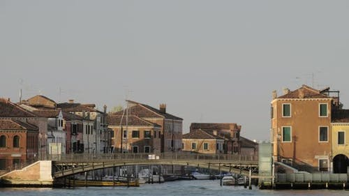 Houses By Water in Venice, Italy, View From Sailing Boat