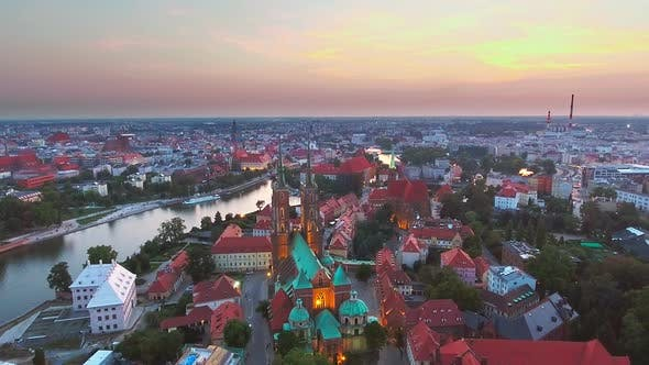 Thumbnail for Aerial: Cathedral Island in Wroclaw, Poland