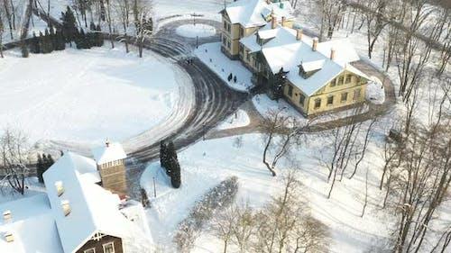 Manor in the Winter Loshitsky Park. Minsk, Belarus