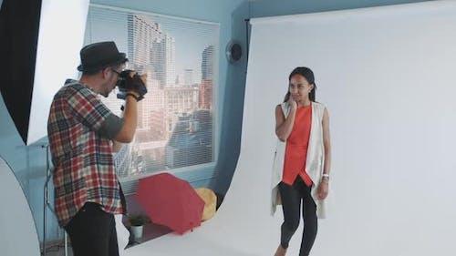 Backstage of Photo Shoot Multiracial Young Woman Posing for Fashion Magazine Photo Shoot