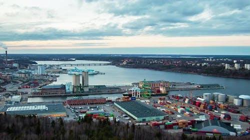Stockholm Container Port Skyline