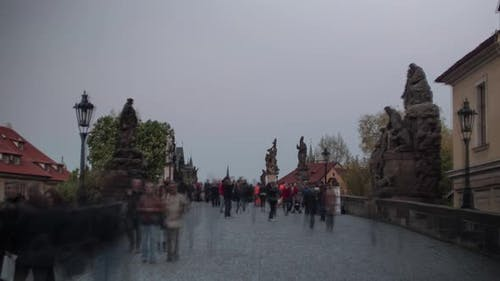 Hyperlapse of walking on Charles Bridge with crowd, Prague